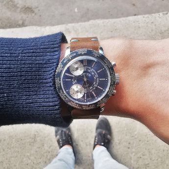 Men's CIMIER SPORT Vintage Chronograph Watch // 1950s 1960s Mechanical Swiss Watch // Rare Watch// Hand Crafted Real Leather Strap