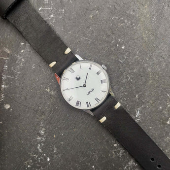 Vintage Mens Lanco Mechanical Swiss Watch with White Dial and New Handmade Black Leather Strap