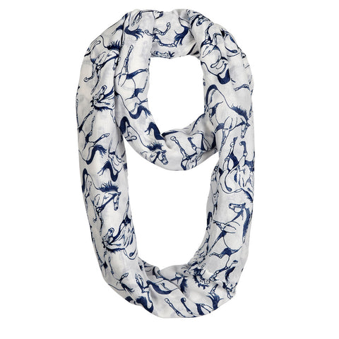 AWST Infinity Scarf with Linear Horse-Ivory with Denim Blue