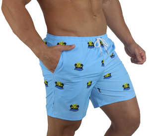 Recognition Water Repellent Board Short - Blue with Miami Beach Body logo