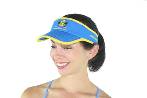 Miami Beach Body Front Logo - All Cotton Visor - Light Blue / Yellow border