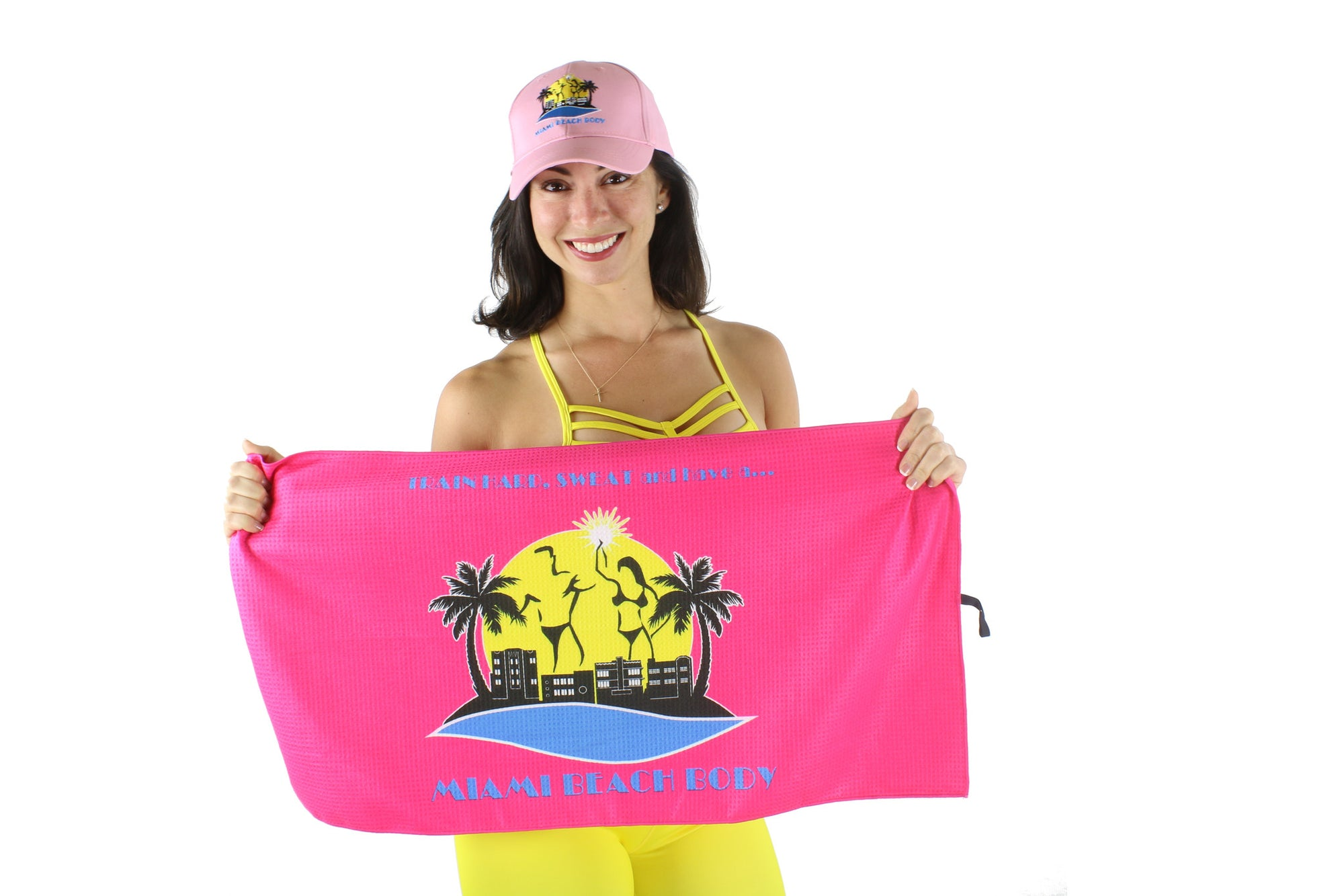 Miami Beach Body - Train Hard and Sweat Ultra Dry Sport Towel - Pink