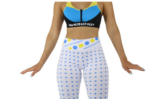 Sun, BlueMoon and Florida Tribes - Sports/Yoga Leggings (White) with Polka Dots