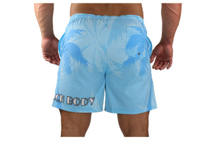 Palm Breeze Water Repellent Board Short - Light Blue with Blue Palm Tree