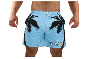 Palm Breeze Water Repellent Board Short - Light Blue with Black Palm Tree