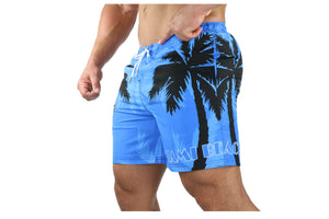Palm Breeze Water Repellent Board Short - Blue with Black Palm Tree