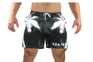 Palm Breeze Water Repellent Board Short - Black with White Palm Tree