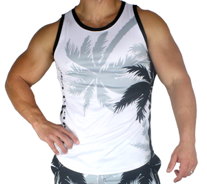 Dry Palm Breeze Sleeveless T-Shirt - White with Black Palm Trees