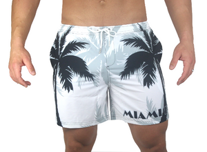 Palm Breeze Water Repellent Board Short - White with Black Palm Tree