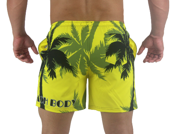 6f99f85a2191a9 ... Palm Breeze Water Repellent Board Short - Yellow with Black Palm Tree  ...