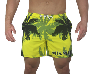 Palm Breeze Water Repellent Board Short - Yellow with Black Palm Tree