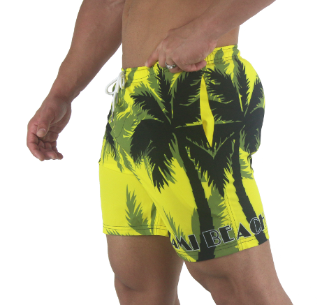 2b3ad91094d6a0 Palm Breeze Water Repellent Board Short - Yellow with Black Palm Tree ...