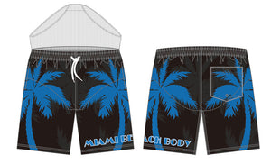 Palm Breeze Water Repellent Board Short - Black with Blue Palm Tree