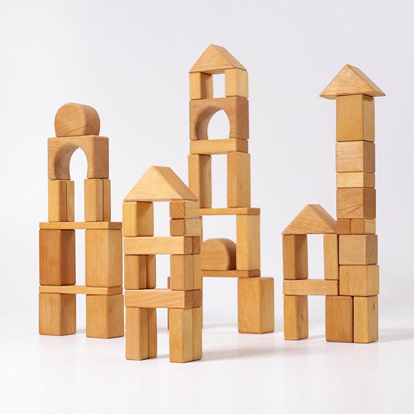 Grimm's Heirloom Wooden Blocks - Set of 60 Natural Geo Blocks
