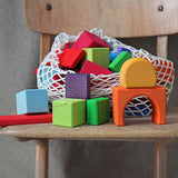 Grimm's Heirloom Wooden Blocks - Set of 60 Colored Geo Blocks