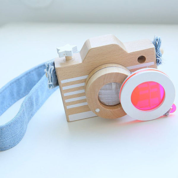 Wooden Camera with Straps & Neon Flair