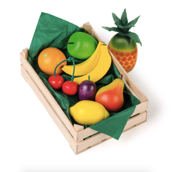 Assorted Wooden Fruit in Crate