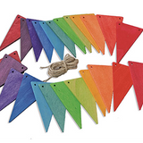 Wooden Rainbow Pennant Banner