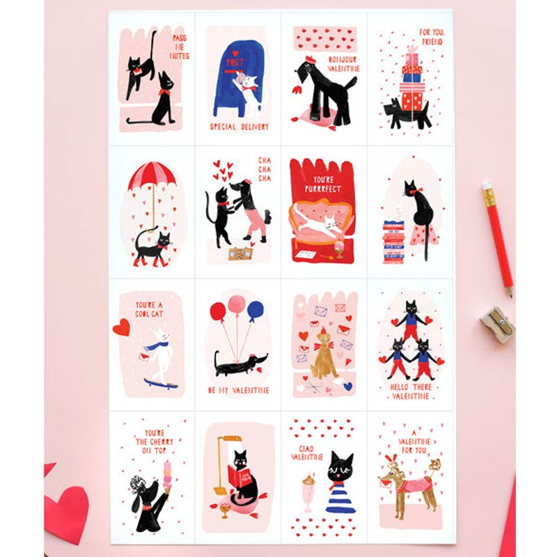Meow & Woof Valentines - Set of 32