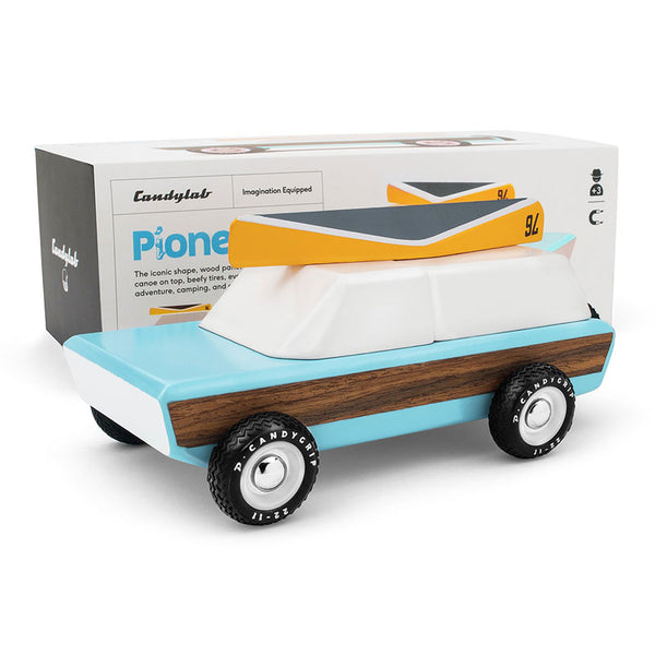 The Pioneer - Wooden Car + Magnetic Canoe on top!