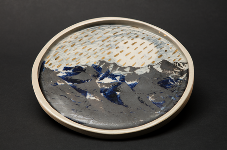 Blue Night Rain Plate by Alice Walton