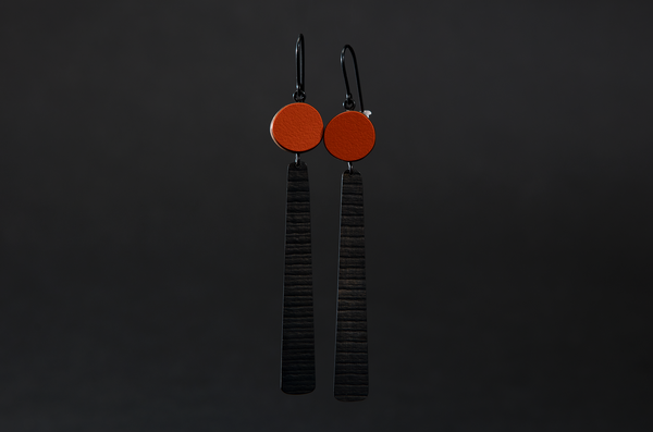 Orange Circle and Long Stripe Earrings by Emily Kidson