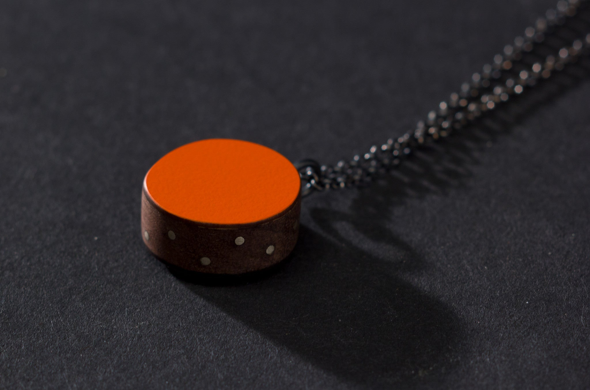 Orange Circle and Inlay Pendant