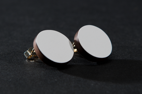 White Circle Studs by Emily Kidson