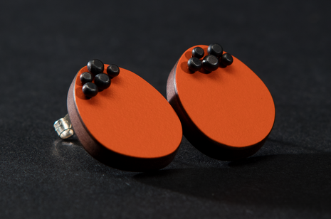Orange Five Dot Pin Studs by Emily Kidson