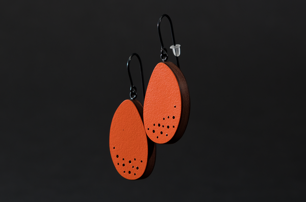 Orange Dangly Dot Earrings by Emily Kidson