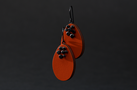 Orange Dot Pin Earrings by Emily Kidson