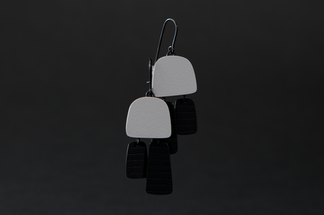 White Two Part Stripe Earrings by Emily Kidson