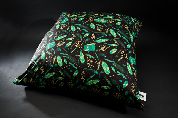 Nest building Black / Green Giant Floor Cushion by B Goods