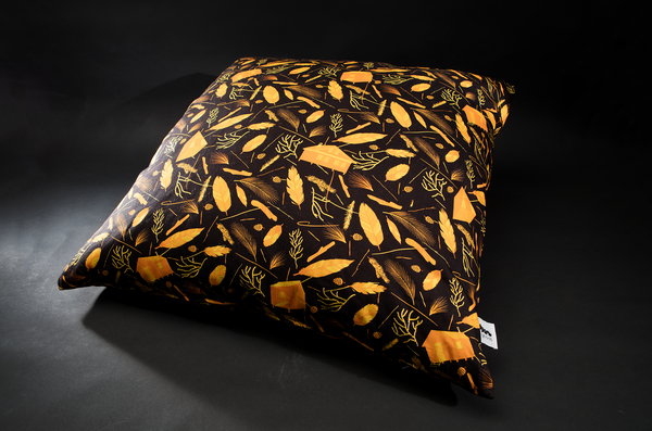 Nest building Black / Orange Giant Floor Cushion by B Goods