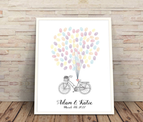 wedding thumbprint bicycle guest book