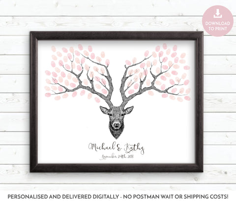 Stag style finger print guest book