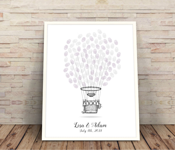 Hot Air Balloon fingerprint wedding guestbook