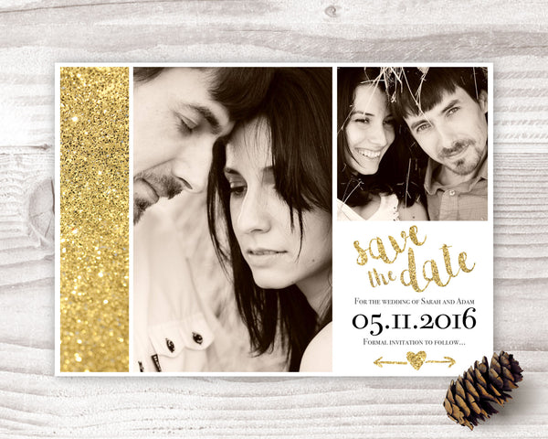 Gold Glitter Save the Date - Wedding Fusions