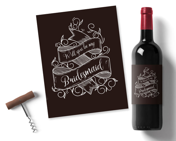 Bridesmaid Chalkboard Wine label - Wedding Fusions