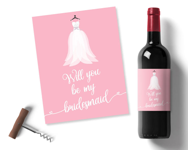 Pink Bridesmaid Wine label