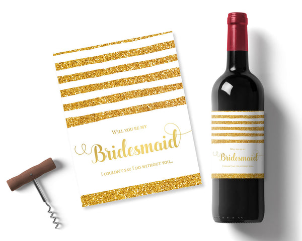 Gold Glitter Bridesmaid Wine label - Wedding Fusions