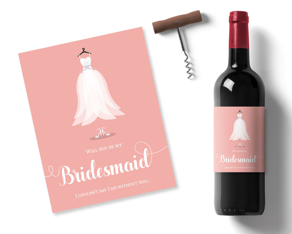 Peach Bridesmaid Wine label - Wedding Fusions