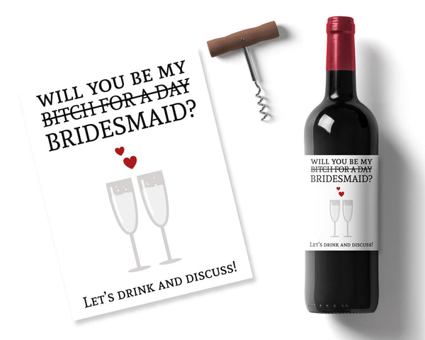 Cheeky Bridesmaid Wine label - Wedding Fusions