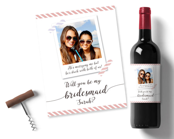 Personalised Bridesmaid Wine label - Wedding Fusions