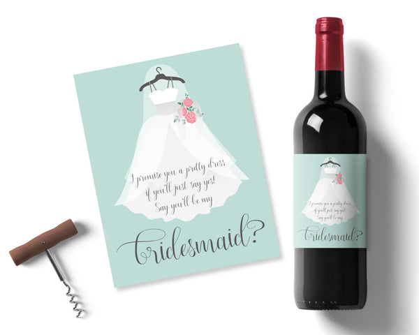 Fern Green Bridesmaid Wine label - Wedding Fusions
