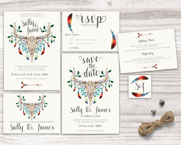 Invitation Suite - Stationary Suite - Bohemian with Skull & Feathers - Wedding Fusions - 1