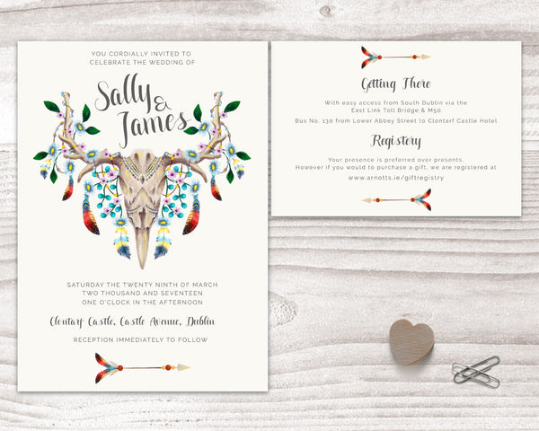 Invitation Suite - Stationary Suite - Bohemian with Skull & Feathers - Wedding Fusions - 3