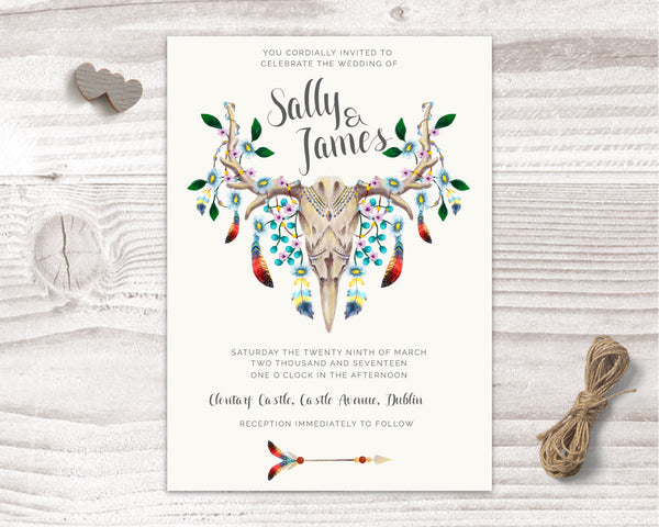 Invitation Suite - Stationary Suite - Bohemian with Skull & Feathers - Wedding Fusions - 4