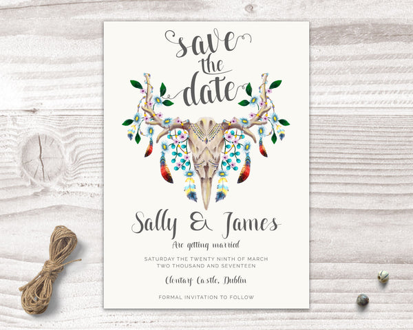 Invitation Suite - Stationary Suite - Bohemian with Skull & Feathers - Wedding Fusions - 5
