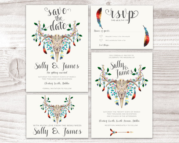 Invitation Suite - Stationary Suite - Bohemian with Skull & Feathers - Wedding Fusions - 2